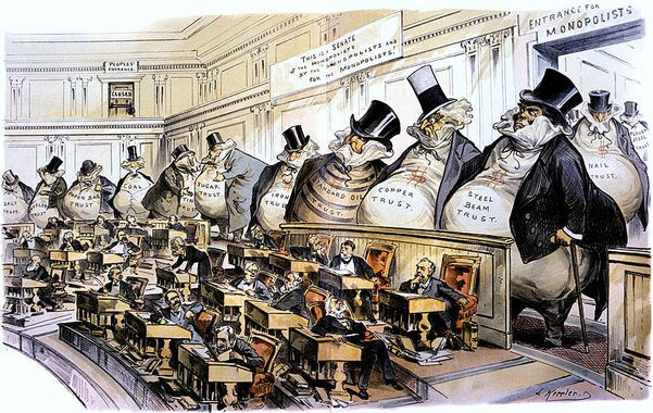 1880s 1889 PUCK POLITICAL CARTOON THE BOSSES OF THE SENATE MONOPOLY CORPORATE INTERESTS LEAD TO SHERMAN ANTITRUST ACT
